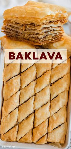 Baklava Recipe (Step by Step Guide + Video) - This Baklava recipe is a showstopper dessert and loved by all at gatherings. Layers of buttery phyllo dough stacked between a cinnamon walnut filling, then finished with a honey glaze Brownie Desserts, Köstliche Desserts, Delicious Desserts, Dessert Recipes, Yummy Food, Dinner Recipes, Health Desserts, Smores Dessert, Bon Dessert