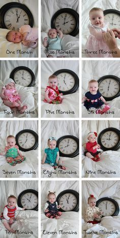 Photograph your baby each month with a clock set to the appropriate hour. It get… – Schwanger Ideen Monthly Baby Photos, Baby Monthly Milestones, Newborn Baby Photos, Baby Poses, Newborn Pictures, Baby Pictures, Pregnancy Pictures, Baby Monat Für Monat, Milestone Pictures