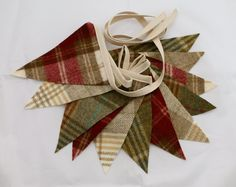 Tartan Tweed Bunting Decoration  Red Check Cream by DaisyBelleShop