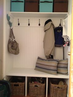 Mud (room) Closet.  Functional & Fun. 4 feet wide x 21 inches deep, perfect use of a small space.