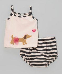 Another great find on #zulily! Pink Dachshund Camisole & Black Stripe Bloomers - Infant #zulilyfinds