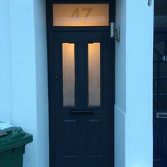 Blue Composite front door with etched top light. After image. In Shoreham-by-Sea. Composite Front Door, Brighton And Hove, Conservatory, Tall Cabinet Storage, Doors, Sea, Image, Blue, Home Decor
