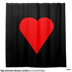 Simply elegant big red heart shower curtain. Customize with text, initials or photo!