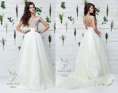 Bridal gown NISSAL, wedding dress, unique wedding gown, lace wedding, simple wedding dress, bride dress, lace gown, boho wedding dress