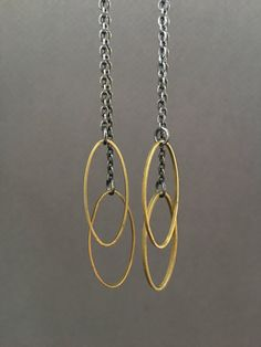 mixed metal oval earrings by createyourhappy on Etsy