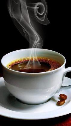 Steaming cup of black coffee. I Love Coffee, Black Coffee, Hot Coffee, Coffee Break, Cup Of Coffee, Starbucks Coffee, Coffee Corner, Coffee Gifts, Good Morning Coffee Cup