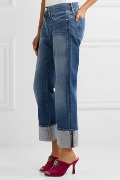 FRAME - Le Oversized Cuff High-rise Straight-leg Jeans - Blue - 23