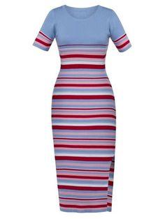 Mid-Calf Color Block Stripe Women's Sweater Dress