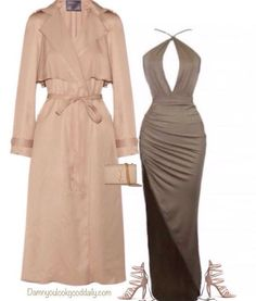 What to Wear To a Fall Wedding Outfit Ideas as a guest, Long Nude Coat, High slit Dress, Nude strappy Sandals, YSL Clutch, Winter, Spring, Cold, Wedding Attire, Kim Kardashian style, Kendall Jenner Style, Classy, Trendy, Sexy