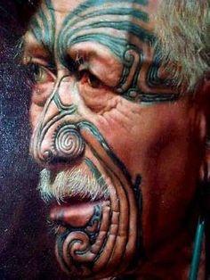 Painting of a maori chief: tattooed by carving into the skin. Facial Painting, Body Painting, Maori People, Tribal People, Art Maori, Ta Moko Tattoo, Maori Tattoos, Neck Tattoos, Samoan Tattoo