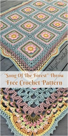 Lied des Waldes Decke werfen kostenlose Muster , Song of the Forrest Blanket Throw Free Pattern ,. Crochet Afghans, Bag Crochet, Manta Crochet, Granny Square Crochet Pattern, Afghan Crochet Patterns, Crochet Squares, Cute Crochet, Baby Blanket Crochet, Crochet Motif