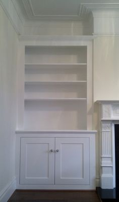 Alcove Cupboards & Shelving - PJH Carpentry and Joinery Alcove Cupboards & Shelving -. Living Room Storage, Living Room Cabinets, Room Shelves, Living Room Shelves, Built In Cupboards, Alcove Shelving, Desk In Living Room, Alcove Ideas Living Room, Victorian Living Room