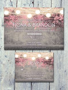 Set of 50 - Cheerful Night Blush Pink Festive Lights Wedding Invitation and Reply Card Set - Wedding Stationery - ID402