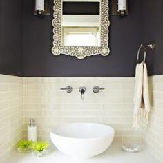 Tile backsplash, dark paint light tile contrast (bathroom design)