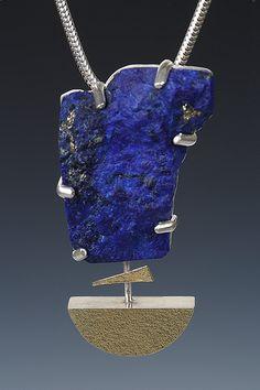 Lona Northener Jewelry:  Pendant of Natural Lapis, Sterling and 18K Bimetal.