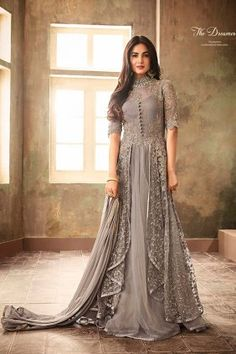 Buy Sonal Chauhan Light Grey Embroidered Anarkali Suit online, SKU Code: This Grey color Party anarkali suit for Women comes with Embroidered Net.Sonal Chauhan Grey Color Net Designer Anarkali Suit Spread the aura of freshness with this grey color ne Indian Gowns Dresses, Eid Dresses, Party Wear Dresses, Pakistani Dresses, Indian Anarkali, Wedding Dresses, Indian Fashion Dresses, Indian Fashion Trends, Party Wear Lehenga