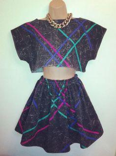 Vintage Retro Grey/ Rainbow Stripe 80's Twin Set. Skirt And Crop Top