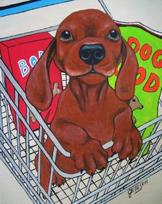 Julie Ellison Dachshund in a shopping cart Doxie Canvas ACEO Print