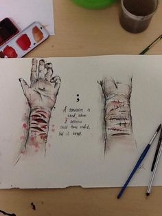 Water painted drawing of self harm
