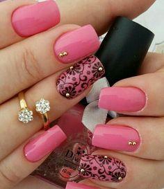 pink and black nail art designs 2016 - Real Hair Cut . Black Nail Art, Pink Nail Art, Cute Nail Art, Beautiful Nail Art, Pink Nails, Black Nails, Blue Nail, Pink Art, Beautiful Images