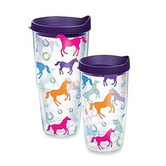 Perfect for equestrians, the colorful Tervis® Horse Multi Wrap tumbler features horses and horseshoes in a wrap-around design. The tumbler also features a double-wall construction and insulation that keeps hot drinks hot and cold drinks cold.