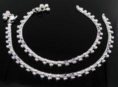 Buy silver anklets for girls and women.North Indian and south Indian Design Bridal Anklets (Body Jewelry Ankle chains). Ankle bracelets for women Belly Dance Anklets with bells, Slim Trendy charm anklets Gold And Silver Bracelets, Silver Anklets, Silver Payal, Silver Rings, Outfit Jeans, Silver Jewellery Indian, Silver Jewelry, Indian Necklace, Stone Jewelry