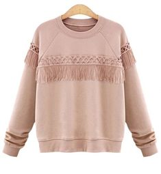 Stylish Jewel Neck Long Sleeve Fringed Loose-Fitting Sweatshirt For WomenSweatshirts