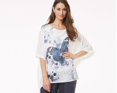Blue Butterfly Batwing Top
