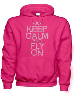Rhinestone Keep Calm and Fly On With Cheerleader Flyer Hoodie Sweatshirt Many Colors on Etsy, $35.00