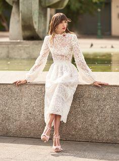 Costarellos Spring Summer 2018 Collection <br />SS18-33<br />Long Sleeves, Tea Length Ball Dress, Off-White