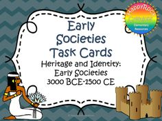 Looking for a great way to review or assess the grade 4 Ontario social studies unit Heritage and Identity: Early Societies 3000 BCE-1500 CE ? Check out these task cards! These 20 task cards cover a range of curriculum expectations and content information (challenges and development of early societies, daily life, social structure and government).