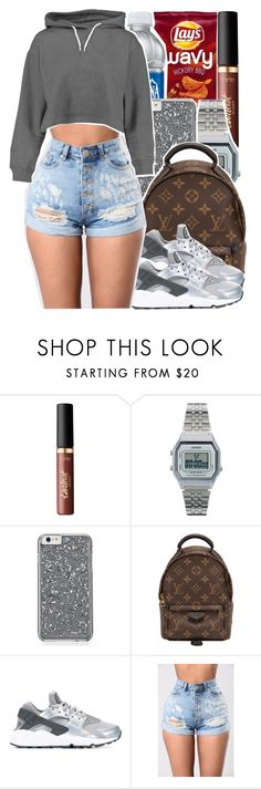 """{i gotta keep it a secret. i keep the key in my lower pocket...}"" by chynelledreamz ❤ liked on Polyvore featuring tarte, Casio, Louis Vuitton, NIKE and Boohoo"