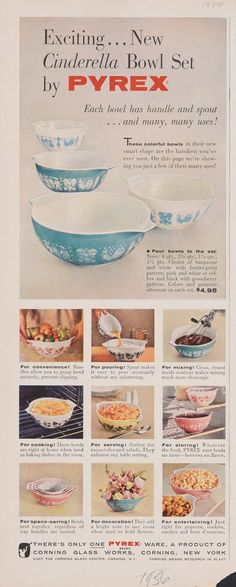 Antique Glassware, Vintage Kitchenware, Vintage Dishes, Vintage Pyrex, Vintage Ads, Retro Ads, Vintage Advertisements, Corning Glass, Corning Museum Of Glass