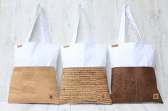 **Tote bag made of cotton in WHITE & 2 bags made of CORK in sand.** The two cork-bags on the front provide storage space for various little things. _**Cork material** - the trend material. Cork Fabric, Fabric Bags, Johnny E June, Cotton Tote Bags, Reusable Tote Bags, Cork Material, Diy Sac, Shopper Bag, Bridesmaid Gifts