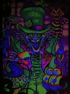 My Mad Hatter poster in the black light! :)