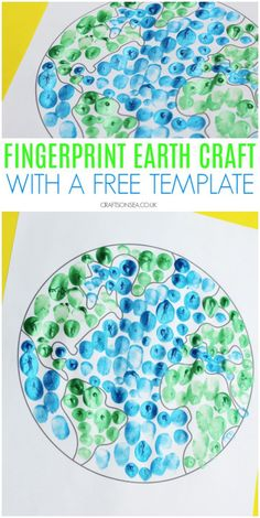 Finger Painted Earth Day Craft for Preschoolers : earth day crafts for kids preschool fingerprint activity An easy Earth Day craft for preschoolers with a free template to make it easy for you to set up! Plus more ideas for simple Earth Day activities. Earth Day Activities, Craft Activities, Preschool Crafts, Preschool Classroom, Planets Preschool, Recycling Activities For Kids, Continents Activities, Space Activities For Kids, Recycling For Kids