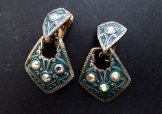 80s Doorknocker Clip On Earrings; Vintage Country Western Rhinestone Cowgirl by VintageFrancesM on Etsy