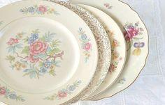 On Sale Set of 4  Mismatched Dinner Plates by RosebudsOriginals