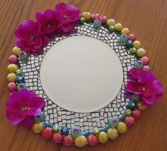 """Mosaic mirror in brilliant colors of Hawaii and the South Seas for perfume, vanity, dresser, centerpiece, candles, flowers, home or office decor, and FREE USPS Priority Shipping! By, """"ForPrettySake"""""""