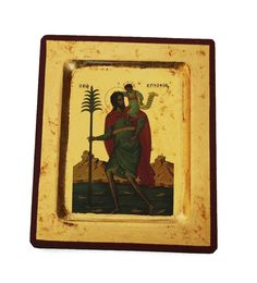 Greek Russian Orthodox Lithography Icon St. Christopher 12.5x10cm