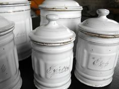 5 French Vintage Enamelware Cannisters. $225.00, via Etsy.
