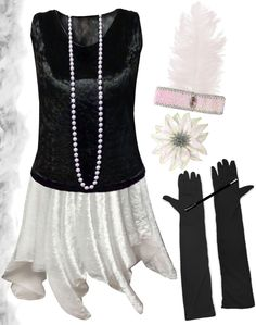 Black / White Roaring 20's PLUS SIZE Flapper Dress Halloween Costume 1x to 8x