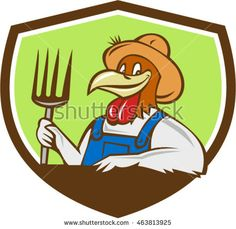 Illustration of a chicken farmer wearing overalls and hat holding pitchfork  viewed from front set inside shield crest on isolated background done in cartoon style. #farmer #cartoon #illustration