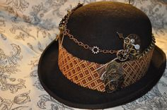 "Men's Steampunk Hat- ---One Of a Kind---Ready to Ship--Upcycled--Black Derby (Bowler)--Size Large--fits 22 5/8""-23"" head. $160.00, via Etsy."