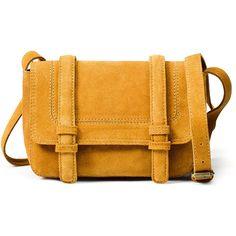 Mini Messenger Bag (£13) ❤ liked on Polyvore featuring bags, messenger bags, purses, bolsas, accessories, handbags, women, yellow bag, mini messenger bag and leather mini bag