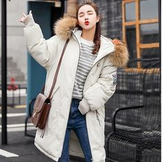2018 Fur Winter Jacket Women Ladies Parka Jackets Fur Collar Female Winter Coat Women Parkas New Coats Ivory XXL Parka Outfit, Windbreaker Outfit, Winter Jackets Women, Coats For Women, Womens Parka, Winter Overcoat, Blazer Pattern, Leather Trench Coat