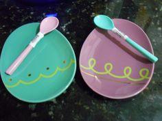 Ceramic Plates w/spoons Eggs Shapped Lot of 4!! -NWB!!