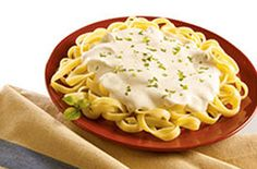 alouette Cheese Easy Fettucine Alfredo - I crushed & chopped 2 garlic cloves in EVOO before adding the cheese and milk.  I also added S and this was ready in about 10 min.  Really Good!