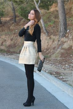 Black tights are the perfect answer to holiday outfits with dress or skirt. To elongate your legs, opt for pumps in the same shade as your tights.