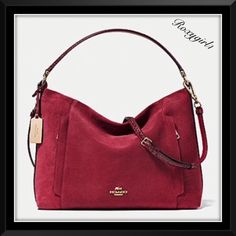 Coach Scout Hobo in Mix Material Suede #35984 Coach Scout Hobo in Mix Material Suede Style #F3584 IM/Black Cherry NOT A FACTORY BAG! Dust bag included A softly structured hobo with a tailored look, Scout is crafted in supple suede/leather with polished Gold Hardware. Secure exterior pockets concealed on each side for easy access for phone, keys etc. Inside zip & 2 slip pockets Zip-top closure, Signature fabric lining Outside zip pockets Handles with 9 drop Adjustable strap for shoulder or…